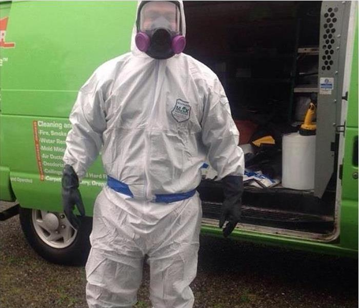 A technician in front of a van wearing protective equipment. full coverage clothing, head-wear, footwear, gloves, mask
